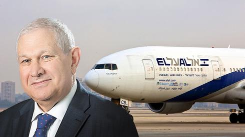 דוד ברודט על רקע מטוס של אל על, צילום: רויטרס