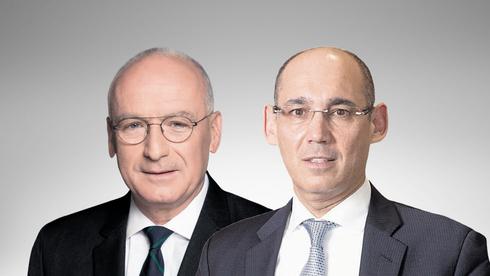 מימין: הנגיד אמיר ירון והמפקח על הבנקים יאיר אבידן, צילומים: רמי זרניגר, אלכס קולומויסקי