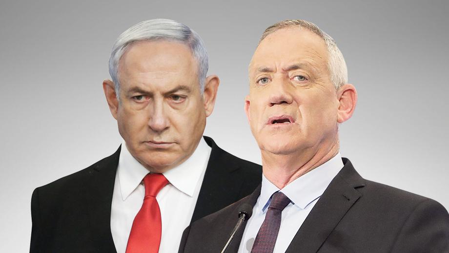 מימין שר הביטחון בני גנץ וראש הממשלה בנימין נתניהו