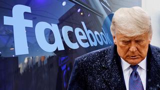 דונלד טראמפ  על רקע לוגואים של טוויטר ו פייסבוק