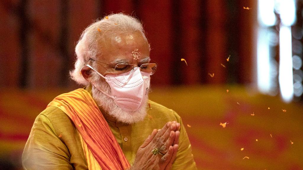 פוטו מנהיגים במסיכה קורונה ראש ממשלת הודו נרנדרה מודי