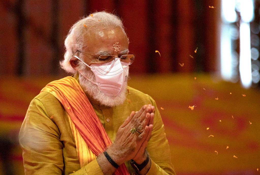 Photo leaders dans le masque du Premier ministre indien Corona Narendra Modi