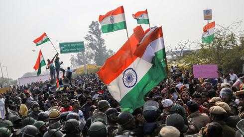הפגנת חקלאים בסוף ינואר בהודו. ההפגנות המשיכו גם לאחר מכן, צילום: רויטרס