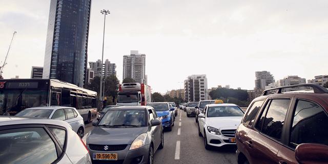 פקק תנועה בתל אביב, צילום: אוראל כהן