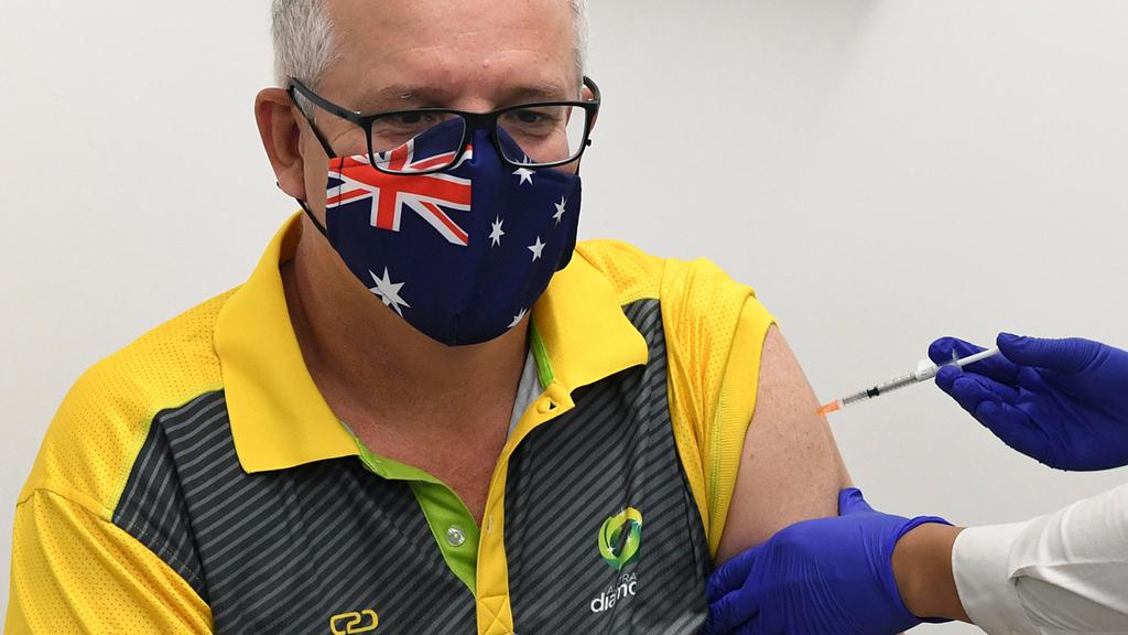 ראש ממשלת אוסטרליה סקוט מוריסון מתחסן נגד קורונה ב סידני 21.2.21