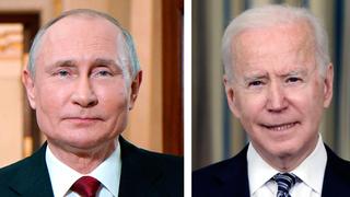 """מימין נשיא ארה""""ב ג'ו ביידן ונשיא רוסיה ולדימיר פוטין"""