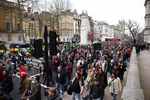 הפגנה בלונדון, צילום: רויטרס