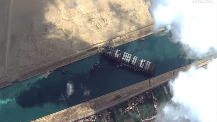 הספינה שנתקעה בתעלת סואץ במבט נוסף מלוויין