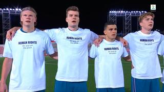 שחקני נבחרת נורבגיה עם החולצה והכיתוב נגד קטאר , צילום: צילום מסך