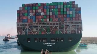 הספינה שנתקעה ב תעלת סואץ  Ever Given אחרי שהוזזה