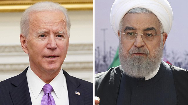 """מימין נשיא איראן חסן רוחאני ונשיא ארה""""ב ג'ו ביידן"""