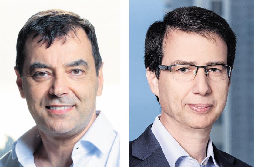 """מימין: מנכ""""ל בנק לאומי חנן פרידמן ובעל השליטה בבנק הדיגיטלי אמנון שעשוע"""
