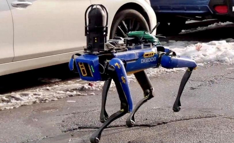 כלב רובוט דיגידוג בוסטון דיינמיקס משטרת ניו יורק, צילום: youtube/ FNTV