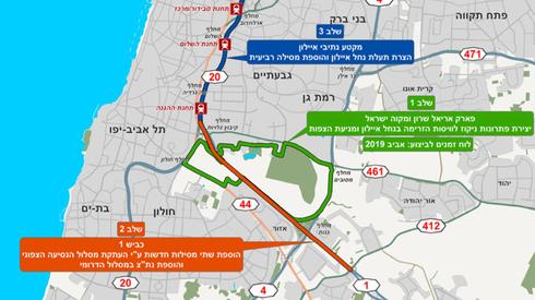 תוואי פרויקט המסילה הרביעית באיילון. עלות של 5 מיליארד שקל , באדיבות: חברת נתיבי ישראל