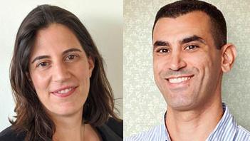 מימין: אבירם לוי מנהל השיווק הראשי של MyHeritage ועינת ניצן ומנהלת תחום טכנולוגיה ב-Google ישראל
