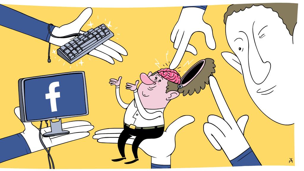 איור טכנולוגי מארק צוקרברג מחזיק משתמש פייסבוק בכף ידו ומחטט במוחו