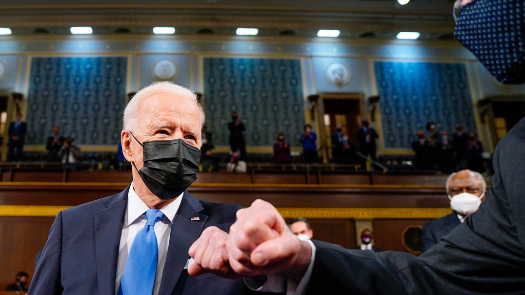 ג'ו ביידן בקונגרס נאום ראשון אחרי 100 ימים בתפקיד