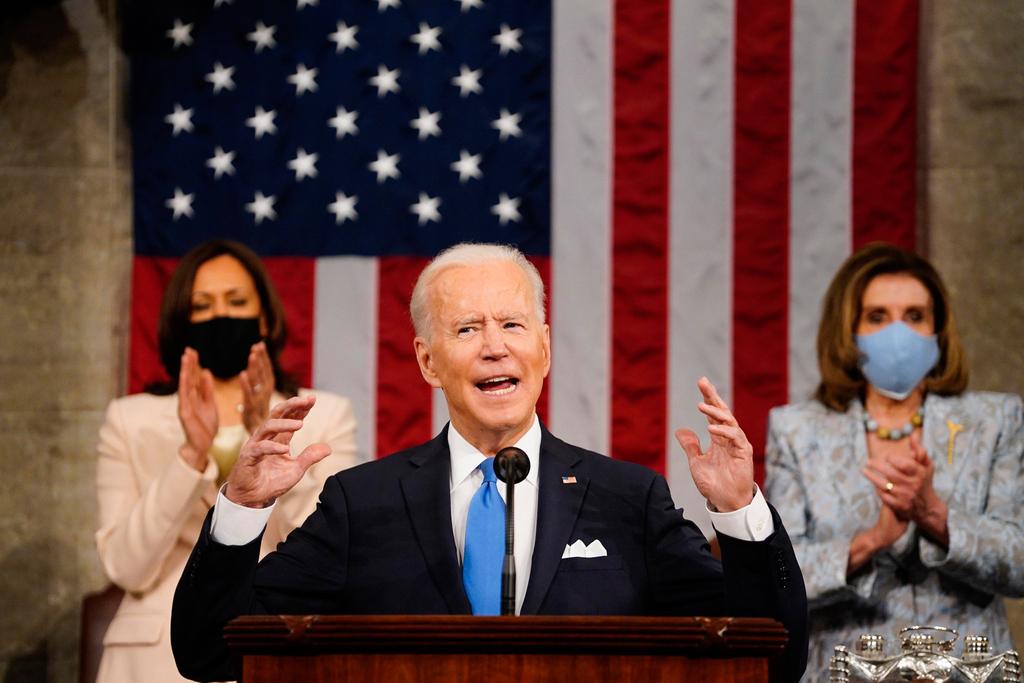 """נשיא ארה""""ב ג'ו ביידן נואם בקונגרס 29.4.21"""