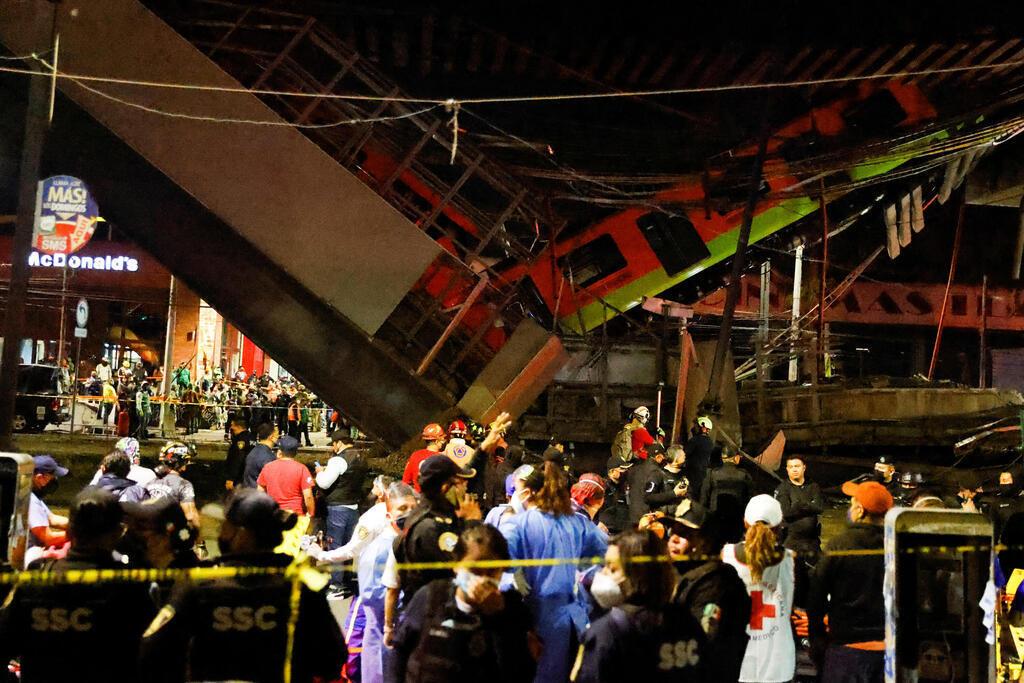מקסיקו סיטי גשר התמוטט כשעליו רכבת המטרו