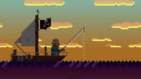 משחק מובייל מרגיע על לפרק דגים עם מכונת ירייה, מתוך Ridiculous Fishing