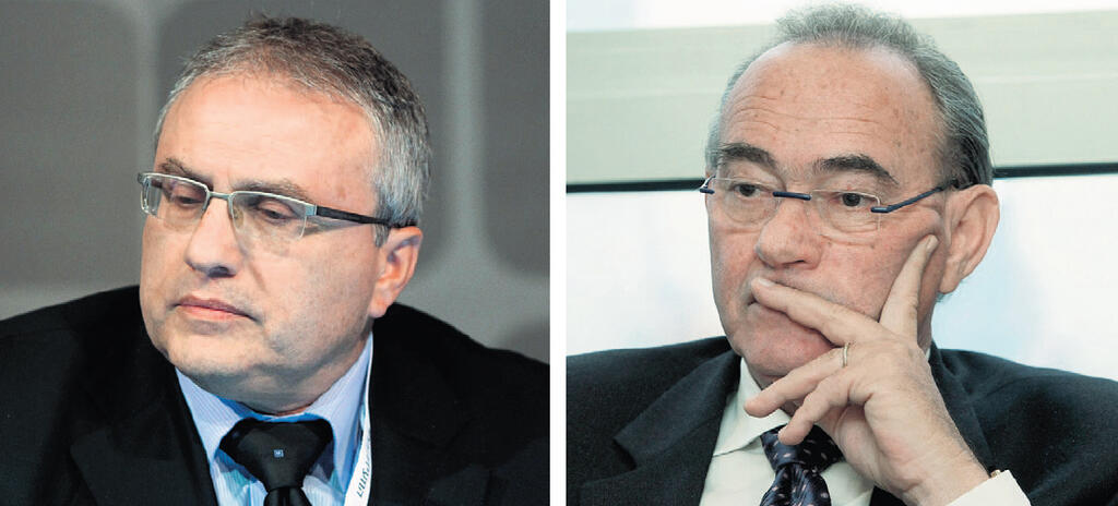 """מימין: מוקי אברמוביץ' ו""""ר חברת הביטוח איילון ו אריק יוגב מנכ""""ל החברה"""