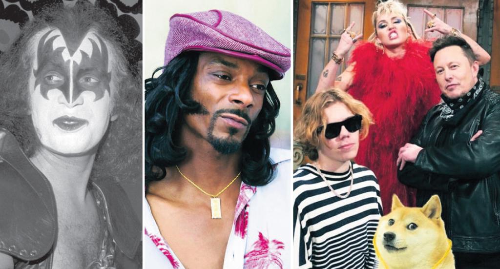 מימין: ההופעה של אלון מאסק ב־SNL שלשום, סנופ דוג ו ג'ין סימונס