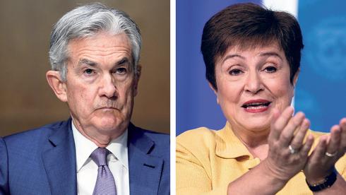 """מימין: יו""""ר קרן המטבע הבינלאומית קריסטלינה גוגייבה ויו""""ר הפד ג"""