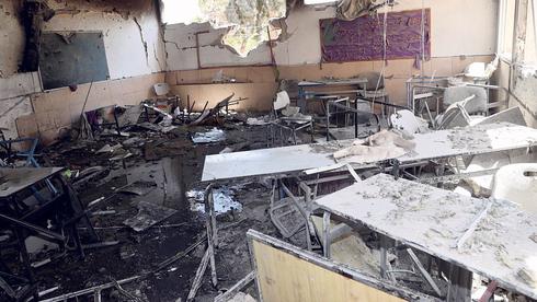 בית ספר באשקלון שספג פגיעה ישירה, צילום: יריב כץ