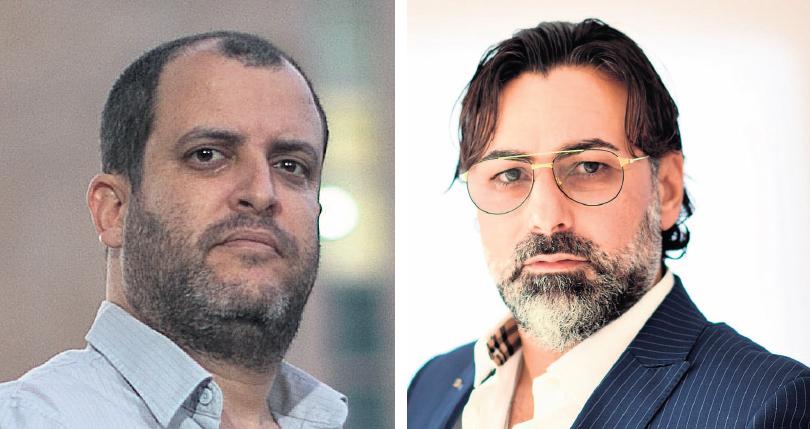 """מימין: ארז בוגנים מנכ""""ל סינאל וההאקר והאקטיביסט נעם רותם"""