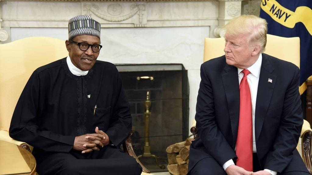 הנשיא לשעבר טראמפ ו נשיא ניגריה מוחמדו בוהארי