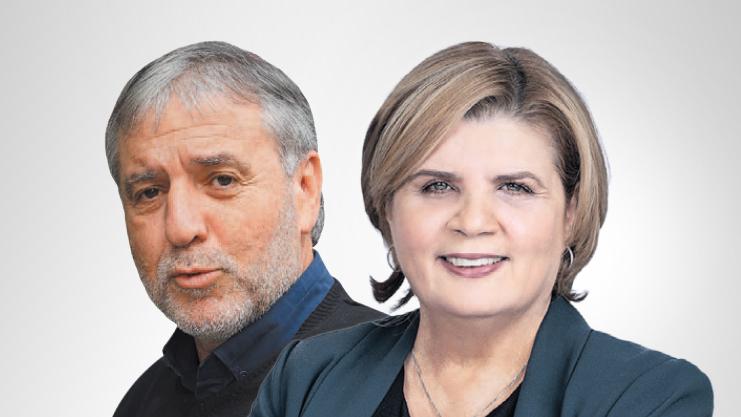 מימין: שרת הכלכלה הנכנסת אורנה ברביבאי ושר הרווחה הנכנס מאיר כהן