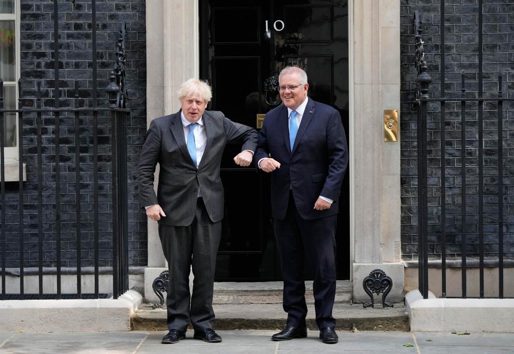 ראש ממשלת בריטניה בוריס ג'ונסון ו אוסטרליה סקוט מוריסון הסכם סחר חופשי