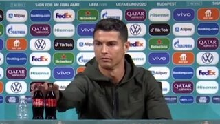 כריסטיאנו רונלדו מסיבת עיתונאים קוקה קולה יורו 2020, צילום מסך: UEFA Euro 2020