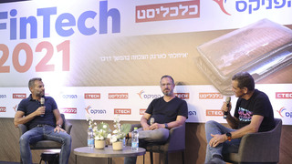 TripActions founders Ilan Twig (left) and Ariel Cohen speaking with Meir Orbach at Calcalist's FinTe