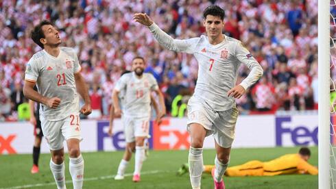 אלבארו מוראטה שחקן ספרד במשחק נגד קרואטיה, AFP