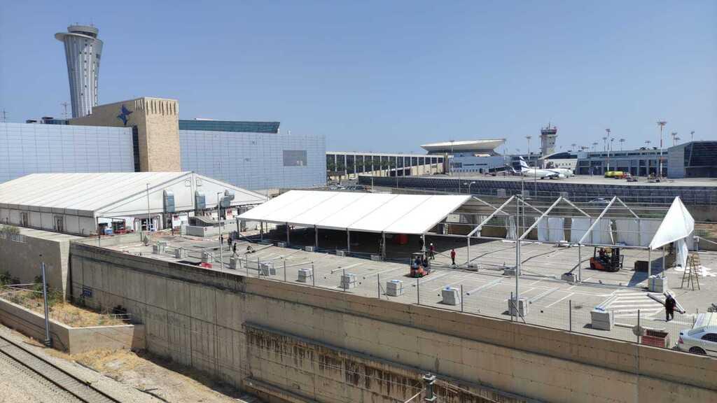 """החלה הקמת אוהל בדיקות קורונה בטרמינל 3 בנתב""""ג"""