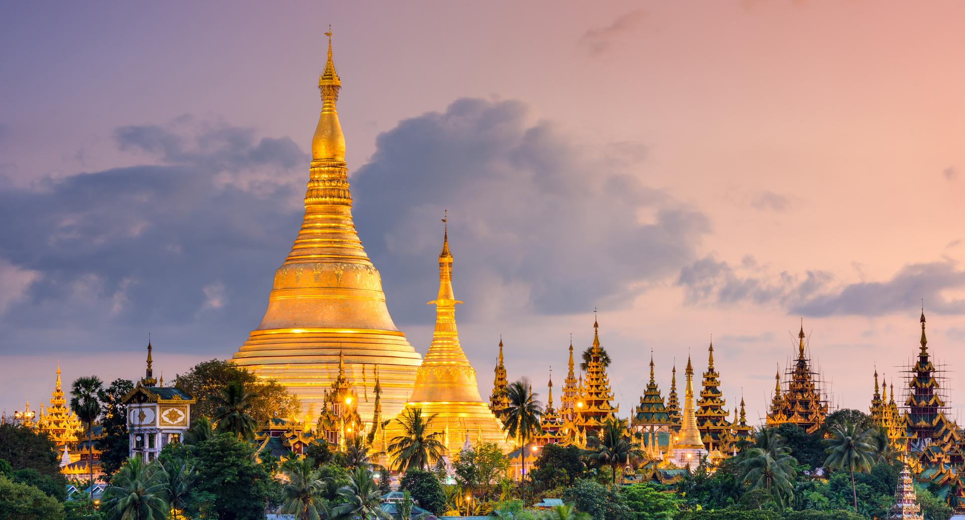 פוטו מבנים מזהב Shwedagon Pagoda מיינאמר