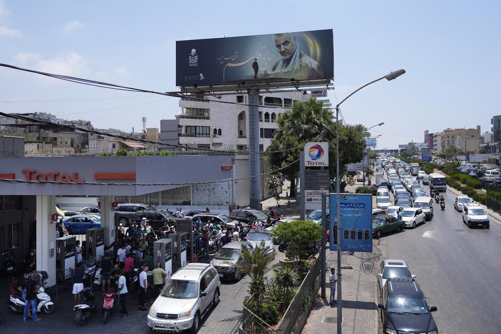 Queue at Beirut Lebanon gas station Economic crisis