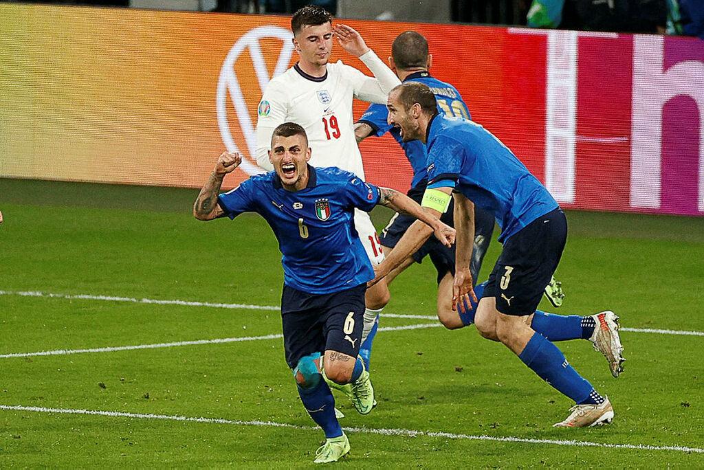 איטליה חוגגת את שער השוויון במשחק