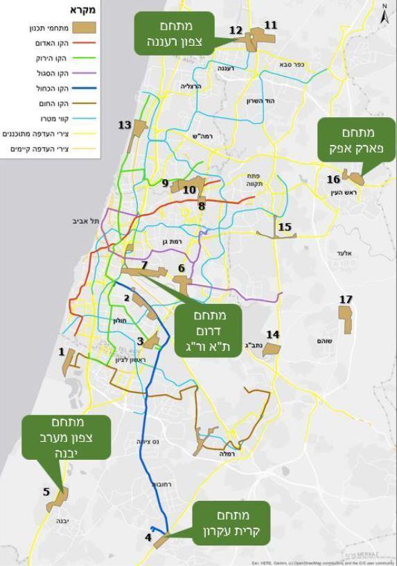 מפה מתחמי תחבורה גוש דן