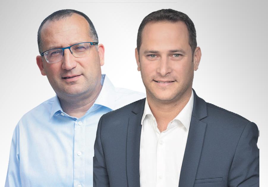 """מימין: ראש עיריית ראשל""""צ רז קינסטליך וראש עיריית גבעתיים רן קוניק"""