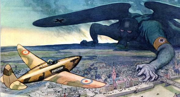 קריקטורה מ-1941 שהתפרסמה בבריטניה ושיקפה היטב את רוח הזמנים, צילום: (1940 leslie lliligworth (punch