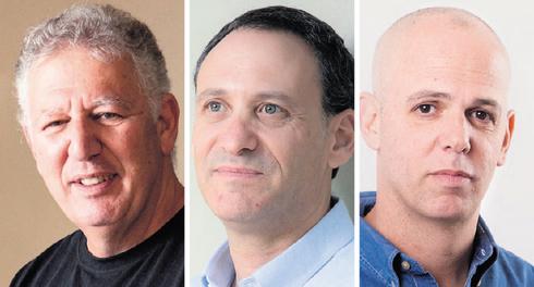 """מימין: יאיר לוינשטיין, מנכ""""ל אלטשולר שחם גמל ופנסיה; רן שחם וגילעד אלטשולר, מנכ""""לים משותפים בבית ההשקעות  , צילומים: אוראל כהן, תומי הרפז"""