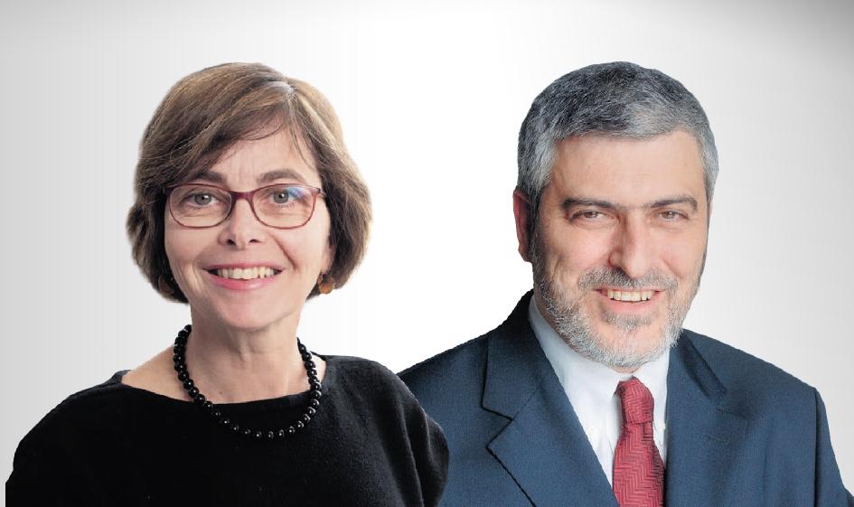 """מימין: מנכ""""ל בנק הפועלים דב קוטלר והממונה על התחרות מיכל הלפרין"""