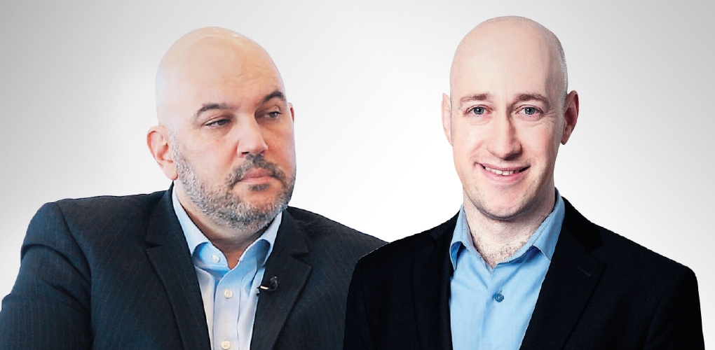 מימין: ברי גנדנשטיין אנליסט בכיר בלאומי פרטנרס וגיא פישר מנהל חטיבת ההשקעות במגדל ביטוח