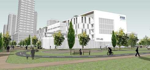 הדמיה של בניין מטה מקורות החדש בחולון, אדריכל מן שנאר