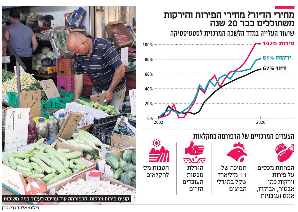 אינפו מחירי הדיור? מחירי הפירות והירקות משתוללים