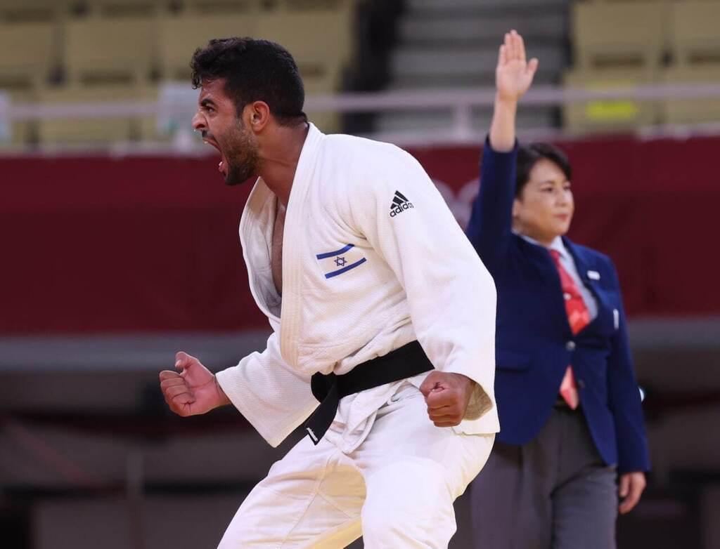 שגיא מוקי ג'ודו אחרי הניצחון האישי שלו בתחרות הקבוצתית מול רוסה ב אולימפיאדה טוקיו 2020