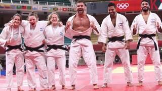 נבחרת ישראל ב ג'ודו לאחר הזכייה במדליית הארד ב אולימפיאדה טוקיו 2020