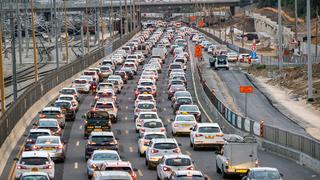 פקק תנועה ב כביש איילון תל אביב עומסי תנועה, צילום: טל שחר